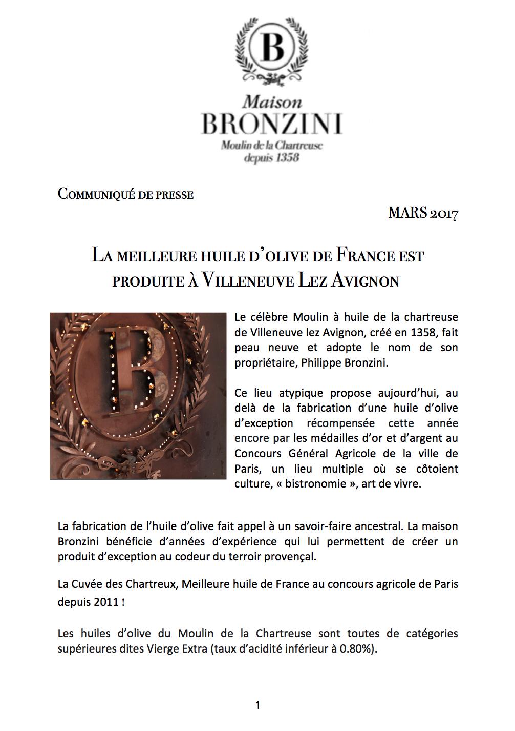 MAISON BRONZINI - Communiqué de presse