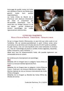 MAISON BRONZINI - Huile d'olive- Communiqué de presse