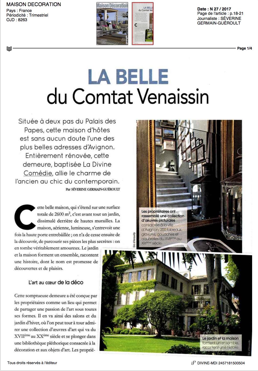 Maison Décoration - La divine Comédie, Avignon