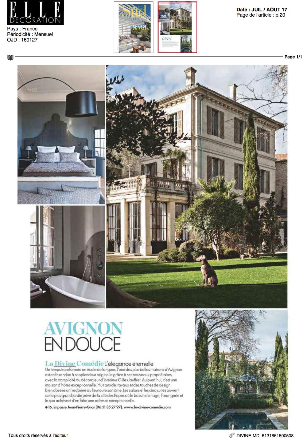 ELLE DECORATION - La Divine Comédie - Avignon